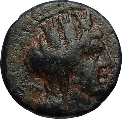 TYRE in PHOENICIA Authentic Ancient Greek 100AD Civic Issue TYCHE & PALM i67069