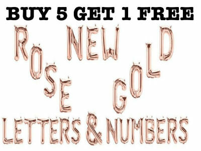 Rose Gold Foil A-Z Letter Balloon Air Inflating Date Name 0-9 Number Message new