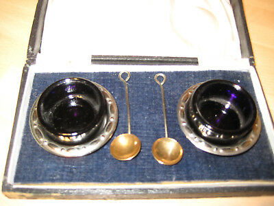 Pair Silver Plated Box Salts With Spoons