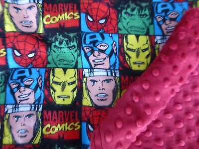 Marvel Avengers Comic*Spiderman*Cpt America Square fabric/Red Minky Baby Blanket