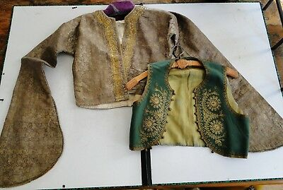 2-PCs 19C. YELEK TURKISH OTTOMAN EMBROIDERED JACKET AND VEST GOLD SILVER THREAD