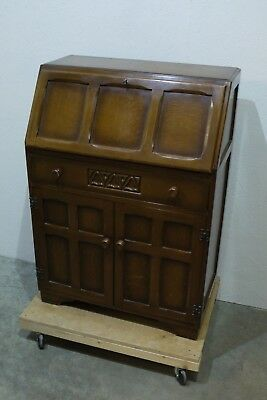 Vintage Jentique Gothic Antique Style Carved Oak Bureau Utility Furniture (223)