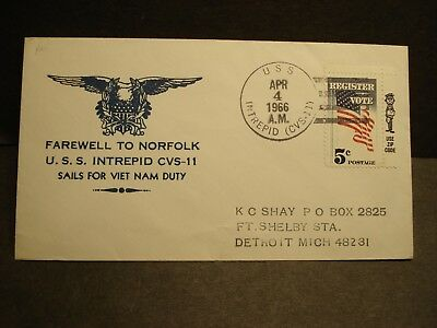 USS INTREPID CVS-11 Naval Cover 1966 VIETNAM Cachet