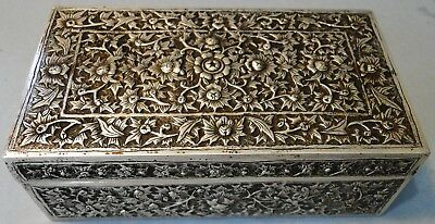 Antique Highly Ornate Chinese Export Silver Box Floral Decor Canton 1880 280 Gr.