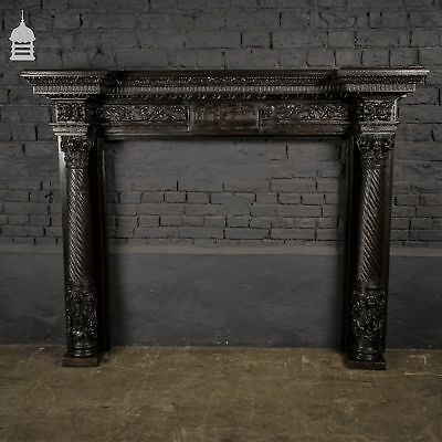 Ornately Carved 19th C French Oak Fire Surround with Twist Detail Columns