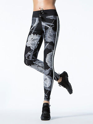 The Upside Floral Grid Yoga Leggings Size Large Black and White
