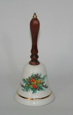 Vintage Avon Christmas Bell 1985 Porcelain Wooden Handle Harvest Design 6.5""