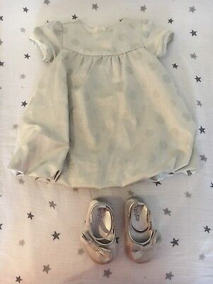 Baby Gap Baby Girl 6-12months Silver Spotty Ovcasion Dress And Matching Shoes.