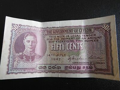 fifty cents ceylon bank note 1942