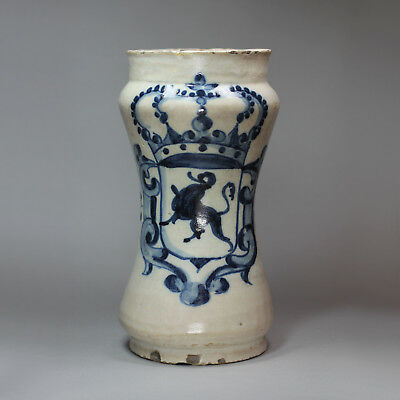 Antique Spanish blue and white albarello, 18th century