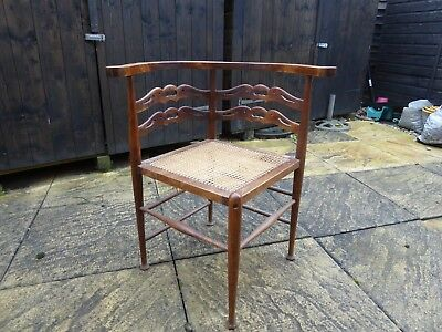 Corner Chair, antique, cane seat