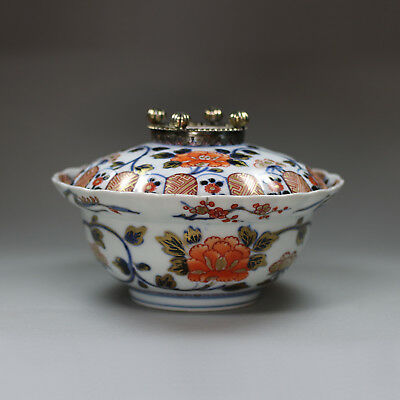 Antique Japanese imari fluted bowl and cover, 19th-20th century