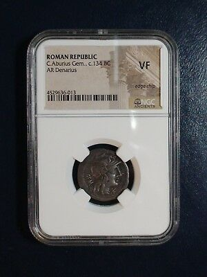 Roman Republic C. Aburlus 134 Bc Ngc  Vf Ancient Coin Priced To Sell!