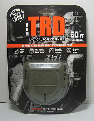 Tactical Rope Dispenser TRD Olive Drab with 50 FT x 550 LB Black Paracord