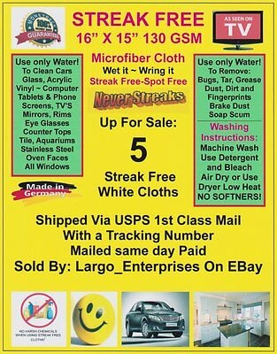 Streak Free MicroFiber Cleaning Cloths (5 Pack) Fast Shipping! 130 GSM! The Best