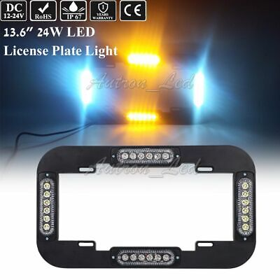 "13.5"" 24W LED Warn Flash Traffic Adviser Strobe License plate lights Amber White"