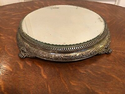 Antique Vintage Silver Plate Footed Mirrored Plateau Centerpiece Hallmarked