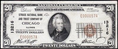 Nice 1929 $20 CHICAGO, IL Straus National Banknote! FREE SHIPPING! E000057A