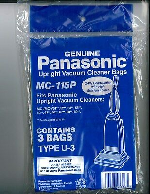 Genuine Panasonic MC-115P Type U-3 Upright Vacuum Bags