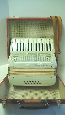 Vintage Stanelli Made In Italy Accordion Mother Of Pearl Case Leather Straps