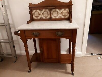 Edwardian Yew Marble Top Wash Stand