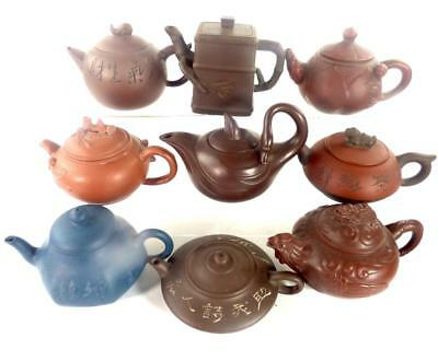 Good Collection Of 9 Chinese Yixing Small Size Pottery Teapots