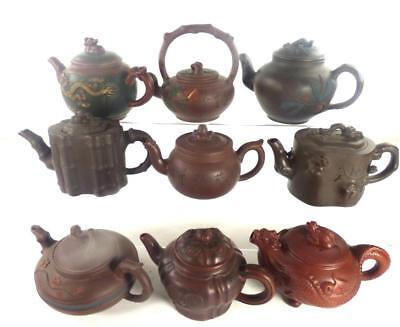 Good Collection Of 9 Chinese Yixing Pottery Teapots
