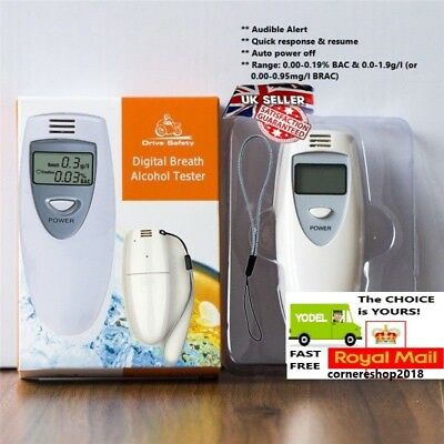 Police Digital Alcohol Breath Tester Analyzer Detector Breathalyser Test LCD UK