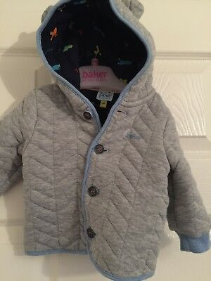 Ted Baker Baby Boys Designer Bear Hooded Grey Jacket 3-6 Months