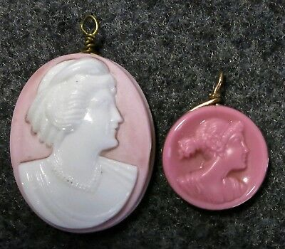 2 Old Vintage Antique Pink White Milk Glass or Stone Carved Cameo Pendants