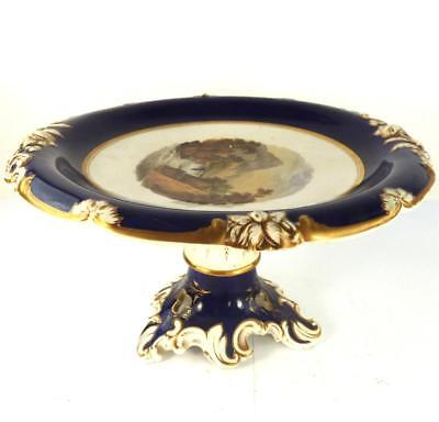 Large Antique Regency Derby Porcelain Comport Tazza Named Waterfall Scene