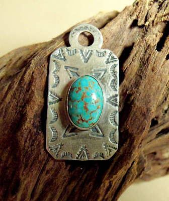 Vintage Sterling Native American Luggage Tag Fob With Turquoise Cab