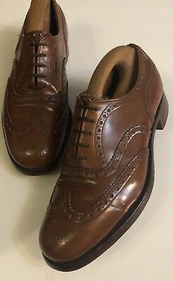 ~Church~Custom Grade 'Burwood' Brogues Brown Sandlewood Polished Binder Uk7