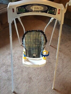 Vintage Graco Baby Swing Crank Wind Up Quiet Speed Control Time Watcher Blue Toy