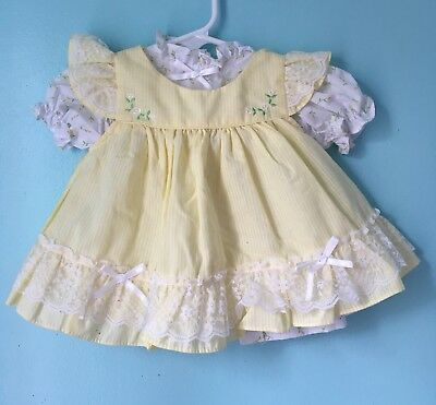 VTG Southern Belle Yellow Baby Dress Doll 3-6 Months Pinafore Apron Lace Bows