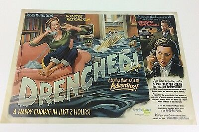 """Drenched!"" Vintage Servicemaster Clean Advertising Promo B-Movie Theme Poster"