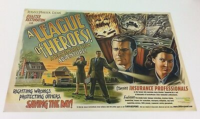 A League of Heroes Vintage Servicemaster Advertising Promo B-Movie Theme Poster