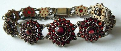FABERGE Antique Imperial RUSSIAN Bracelet with Bohemian garnet stones, 84 silver