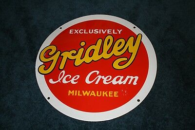 Awesome Porcelain Gridley Ice Cream Sign