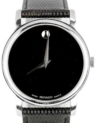 4dfe08b09 MOVADO LADIES SWISS Made Black Museum Dial Black Leather Band Watch ...