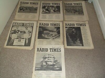 Seven 1950's Radio Times Magazines 1950 Derby.1954 F.A. Cup Final, Chaplin etc