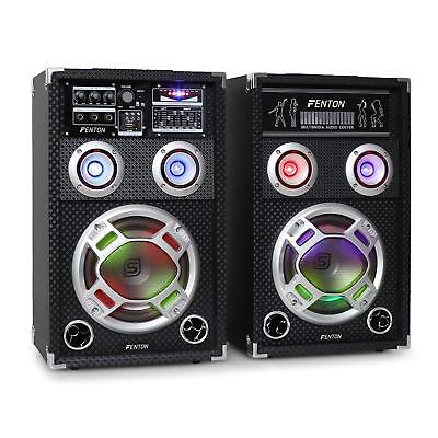 Skytec Ka-08 Karaoke Pa Speakers Set 600W Usb Sd Rgb Led Eq Active Passive Pair