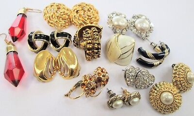 Collection vintage earrings (gold metal, pearl, diamond paste, enamel, glass)