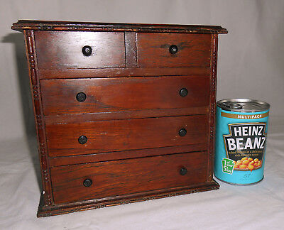 Antique Miniature Apprentice Chest of Drawers ideal Jewellery Box, Dolls Clothes