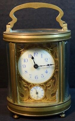 Antique Brass Carriage Clock with Minute Dial and Alarm (Repeater?)