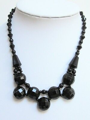 Good vintage French jet bead collar necklace + 1