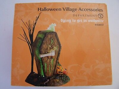 Dept 56  Snow  Village Halloween  Accessories  Dying To Get In Outhouse