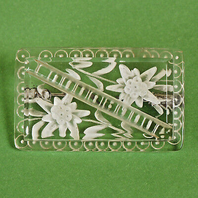 Lucite Reverse CarvedFlower Brooch / Pin  Vintage Retro 1940/50s, trombone catch