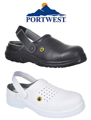 Portwest ESD Perforated Safety Clog Work Shoes Protective Toe Cap Anti Slip FC03