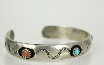 Vtg Native American Sterling 925 Turquoise Coral Hand Stamped Cuff Bracelet